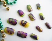 Water Marble Nail Art Mardi Gras Purple Amethyst Yellow Gold Green Abstract Spring Summer OOAK Introductory Offer Sale
