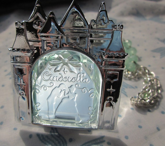 Cinderella Castle Mirror Necklace with Mint Crystal Chain for Classic or Sweet Lolita