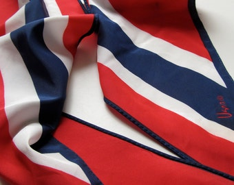 1970s Vintage VERA Neumann Scarf with Bright Red, White and Blue Colours