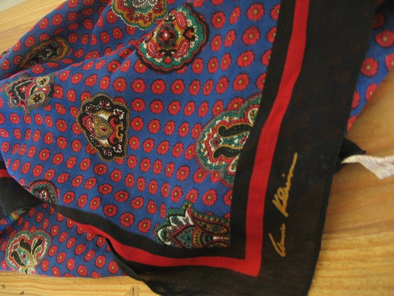 Vintage ANNE KLEIN for VERA, Floral Wool Scarf with Red, Blue and Black colours