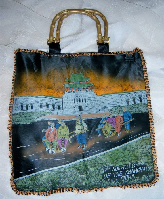 Upcycled Antique Handpainted Silk Pillowcase Purse from China
