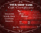 Custom Gift Certificate for YOUR shop DIGITAL FILE with photo, logo and more