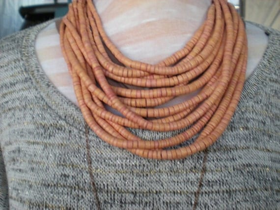 Multi Strand Wood Necklace with large Horn Clasp