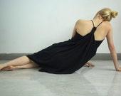 Pure Wool Black Jersey Draped Dress