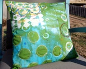 Green with Circles, 16x16 pillow cover