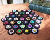 Primitive Wool Folk Art Candle Mat Penny Rug Table Runner-Antique Style Hexagon