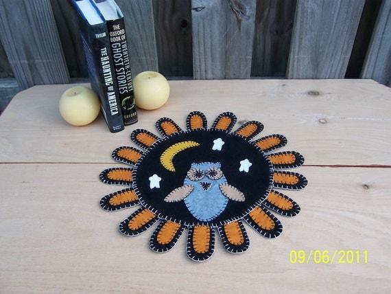 Primitive Owl Folk Art Wool Candle Mat Penny Rug Table Runner