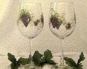 Purple grape hand painted pair of wine glasses