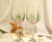 Birdies on the beach hand painted pair of wine glasses