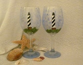 Cape Hatteras Light House hand painted pair of wine glasses
