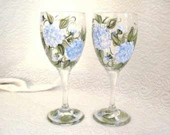 Beautiful blue hydrangea hand painted set of two wine glasses