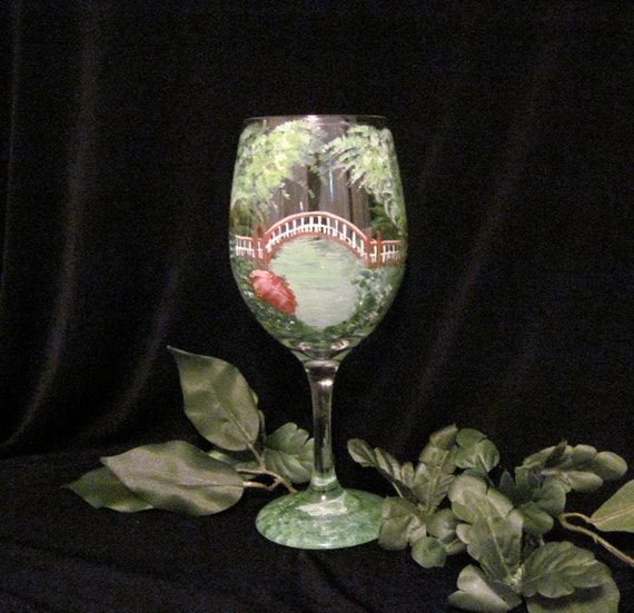 Crim Dell Bridge William and Mary Va hand painted wine glass by Deanna Bakale