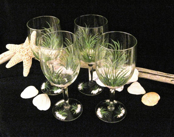 Beach glasses hand painted set of four glasses