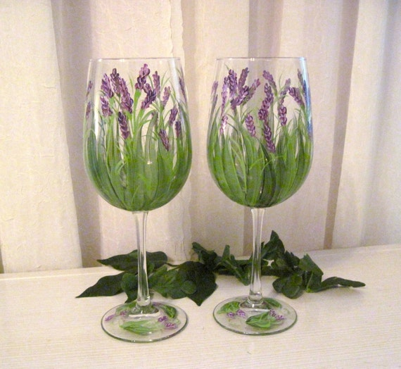 Lavender wildflower hand painted wine glasses