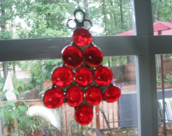 Glass Nugget Tree, Red