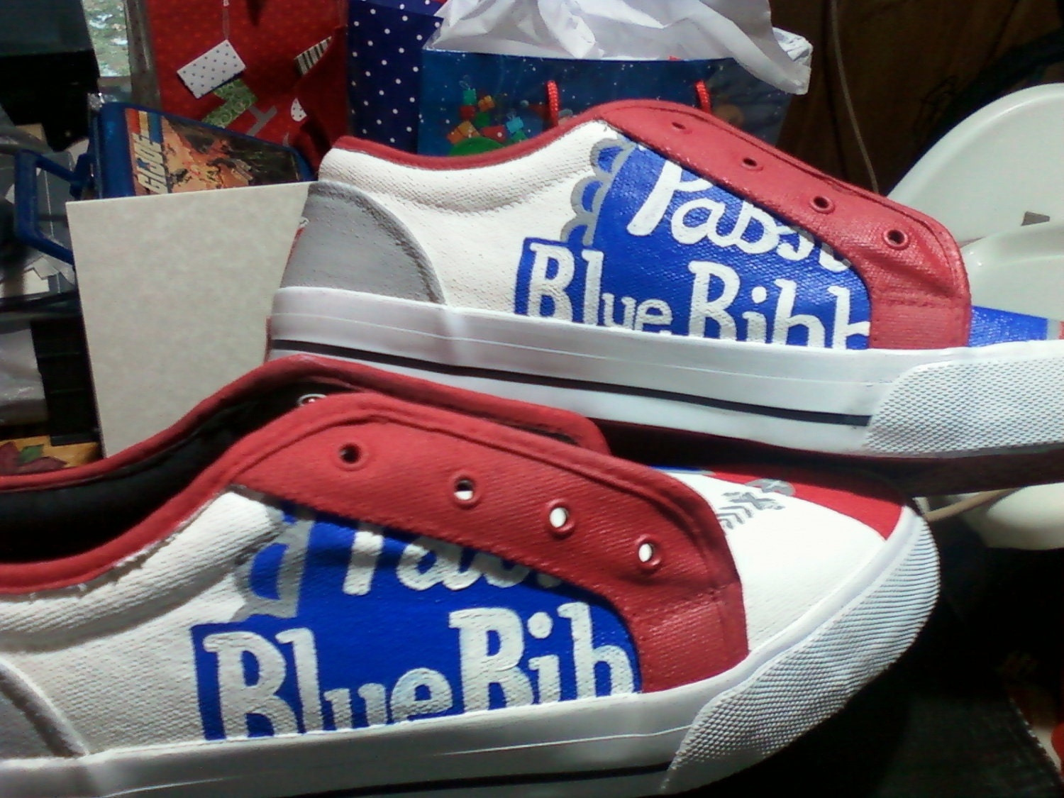Canvas Pabst Blue Ribbon Shoes Made To Order By Upteepaintings