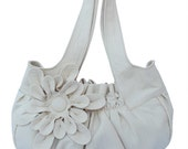 Sale.. Faux Leather Purse / Handbag / Shoulder Bag with Stylish Flower Applique - Beige, Pleated with Double Straps - 30% Off