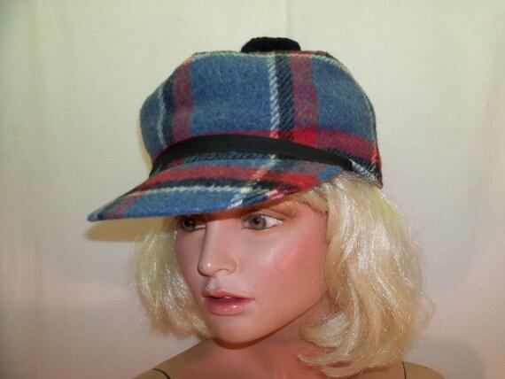 Vintage Old Man Pom Pom Plaid Hunting Winter Hat Cap Retro Blue Ski Snowball