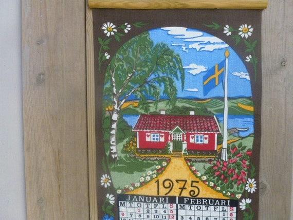 Vintage Swedish wall hanging / Swedish textile calendar 1975