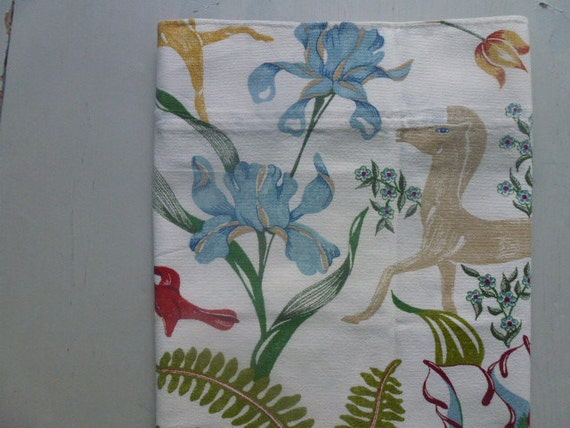 "Vintage Swedish cafe curtain / ""Garden of Eden"""