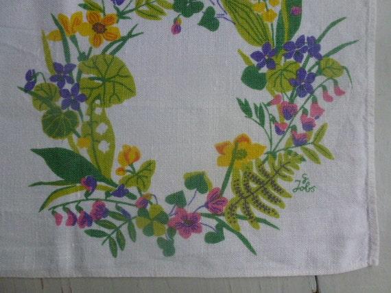 Vintage Swedish tablecloth / Hand printed Dalacarlian table runner