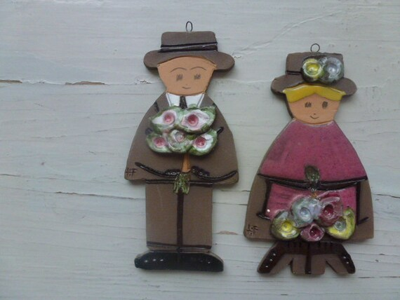 50 % OFF Vintage Swedish ceramics wall plaques / Pretty couple