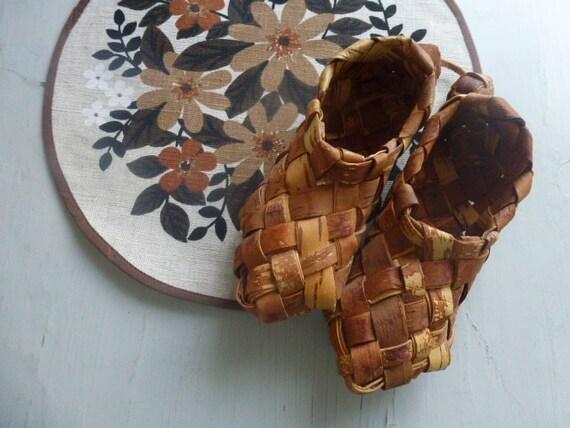 Vintage Swedish miniature birch shoes / Sami shoes
