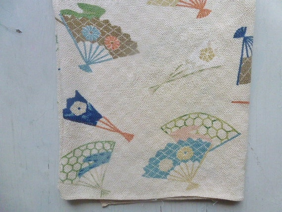ON HOLD /////////////////   Vintage Swedish scarf / 50s fans / Harlequin pattern