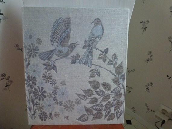 Vintage Swedish wall hanging / Birds jaquard weave