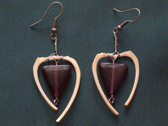 Purple Glass Triangle Bead & Real Rat Rib Bone Dangle Earrings