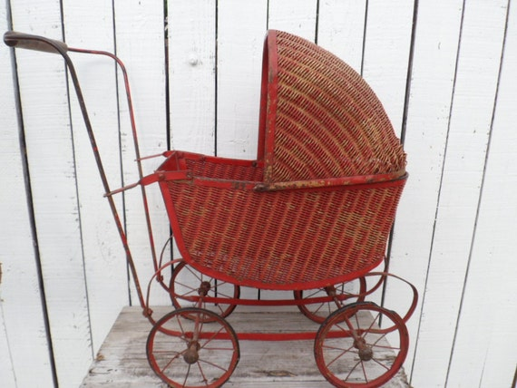 RESERVED FOR LORRIE Sale Half Off Was 75 now 37  Antique Red Chippy Wicker Doll Buggy