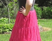 Vintage 60s/70s Hot Pink and white Tiered Laced Boho Maxi Skirt