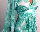 Green Gardens Dress//Green Goddess Maxi Dress//70s Green Maxi//1970s//Green Print Boho Dress