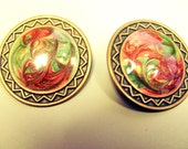 5 DOLLAR SALE Vintage Red and Green Swirl Earrings