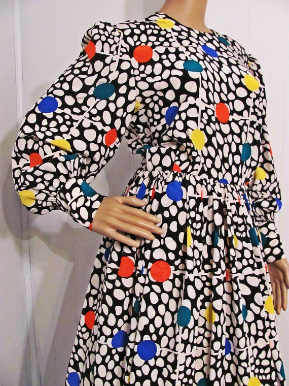 Vintage Adele Simpson Silk Polka Dot Dress// Size 14 Silk Dress