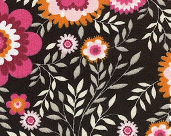 Cotton Fabric In a Raspberry Flower Print On A Black Background
