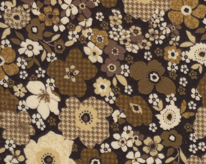 Flannel  / Cotton Flannel Fabric / Brown Floral  / from the Tailor collection