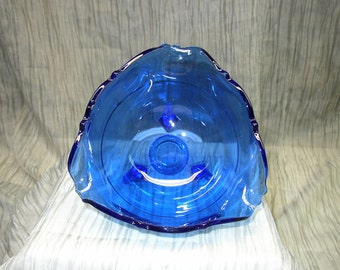 Blue Depression Glass Candy Dish