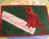 Fabric postcard red Christmas cat
