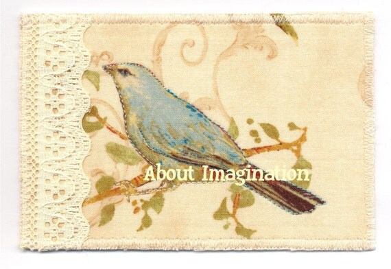 Fabric postcard Sweet Bluebird and Lace