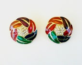 Bold and Beautiful Cloisonne Rhinestone Clip-On Earrings - Vintage