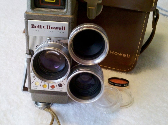 ONLY FIVE DOLLARS  Vintage 8 mm Movie Camera - 3 Lenses Bell & Howell 252- Circa Early 1970s