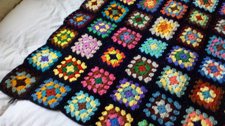 Rainbow Crochet Blanket Granny Square