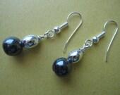Earrings, Black beads
