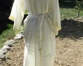 Vintage 60's Satin Off White Dragon Robe Cover Up
