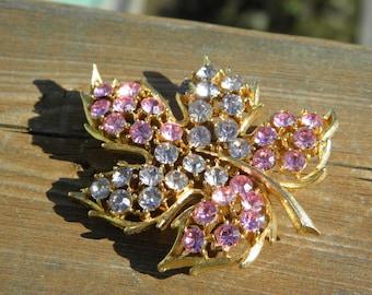 Large Vintage Rhinestone Pink and Lavender Leaf Brooch Pin