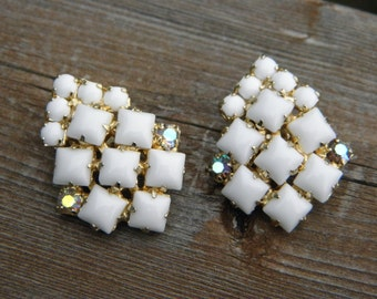 Unique Milk Glass Clip Earrings with Aurora Borealis STones