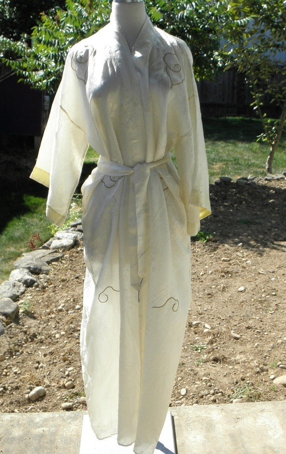 Vintage 60's Satin Off White Dragon Robe Cover Up