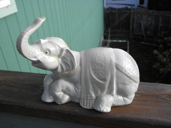 Vintage Porceval Porcelain Elephant Figurine Made In Spain