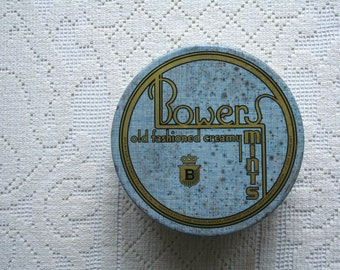 Vintage Collectible Blue Tin Bowers Mints Tin Container Round Box Art Deco Storage Organization Decorating Prop